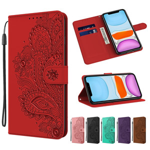 Skin Feel Wallet Leather Case For Samsung S30 Ultra F41 M31 A42 5G MOTO G9 PLAY Emboss Palace Peacock Flower Stand Strap ID Card Phone Cover