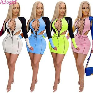 Adogirl Color Patchwork Hollow Out Ribbed Mini Skirt Two Piece Set Sexy Long Sleeve Lace Up Crop Top Bodycon Skirt Club Suit