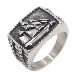Loredana high quality solid titanium steel The legendary Viking battle sail rode the wind men ring creative exquisite jewelry
