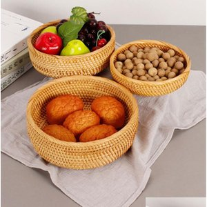 3pcs set round storage basket fruit dish rattan for weaving handmade for kitchen food picnic bread sundries decor container organizer YlCXn