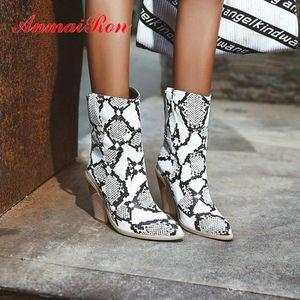Anmairon 2020 Sexy Spike Spike Tacchi PU puntata Stivaletti per donna Stivaletti per donna Snakeskam Scarpe scarpe scarpe scarpe scarpe