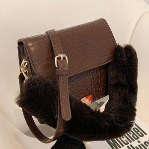 Fashion Pattern Vintage Tote New PU Crocodile Bag Shoulder Quality Plush Leather Designer Handbag Women's 2021 Messenger Bag Tddvs