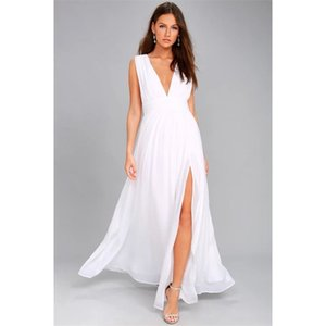 Seksi Katı Kadınlar Güz Kolsuz Derin V Yaka Backless Vintage Uzun Boho Parti Kokteyl Rahat Gevşek Plaj Beyaz Bodycon Elbiseler T200416
