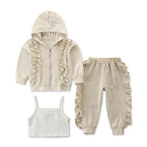 New style 3pcs set girls tracksuit casual girls suits kids tracksuit hooded coats+tank tops+pants kids suits kids clothes B3006