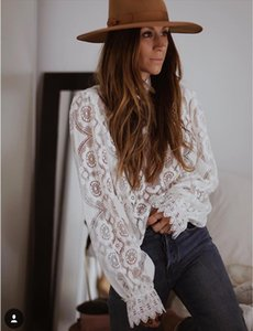 AYUALIN lady white lace blouse shirt women long sleeve see through sexy blusa vintage femme transparent top casual boho blouses