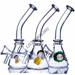 Printing Beaker Bong Diffused Downstem Perc Glass Water Pipe Recycler Glass Bongs Bent Neck Cheap Smoking Pipes Dab Rigs