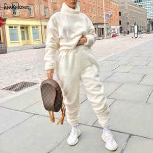 Autumn New High Collar Women Sets Solid Tracksuits Velvet Two Pieces Fashion Long Sleeve Coats +Pants Sets Womens Outfits