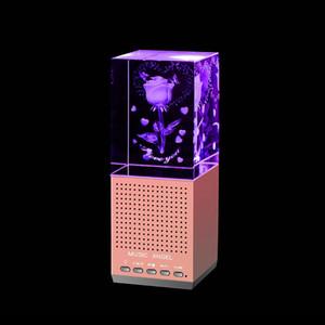 Crystal Rose Bluetooth Speaker LED Crystal Wireless Speaker Mini Portable Loudspeaker Support TF Card Interior Decorating