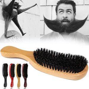 Brittle Wave Rail Beard Щетка волос гребня деревянная ручка Большие изогнутые комбинированные мужчины Натуральная щетина Combs Styling инструменты