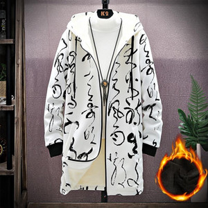 Fleece Winter Trench Coat Men Parkas Men Print Japanese Hooded Long Trench Coat Black Hip Hop Streetwear Thick