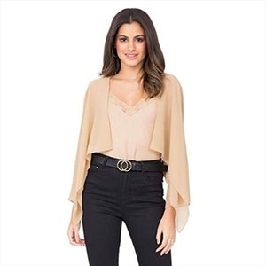 New Summer Womens Fashion Open Front Solid Chiffon Long Sleeve Sheer Bolero Shrug Cardigan Cropped Blouse Loose Casual Shirts