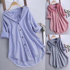 JAYCOSIN Womens Tops and Blouses Long Sleeve Woman Shirts Button Up Pullover Cotton Striped Top Plus Size Tunic Blouse 19July26
