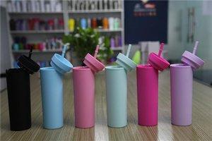 Vente en gros de 16 oz Skinny Skinny Tumblers Mattes Colories Colories Tumblers avec des couvercles et des pailles à 2 couches de gobelets plastiques avec paille