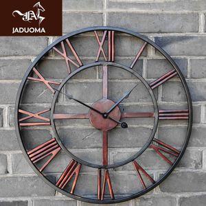 JADUOMA 3D Circular Retro Roman 47cm Wrought Hollow Iron Vintage Large Mute Decorative Wall Clock On The Wall Decoration Home Q1124