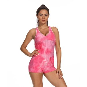 Sexy Tie Dye One Piece Sport Set Women Yoga Shorts Jumpsuit Fitness Workout Clothing Exercise Track Suits Gym Shorts