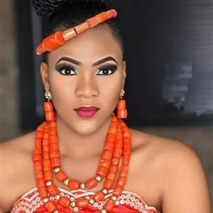 Moda Nigerian Coral Beads Colar Brincos Set para Noiva New African Wedding Jewelry Set Frete Grátis CNR665 Z1214