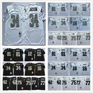 NCAA Vintage Retro # 12 Ken Stabler 16 Jim Plunkett 34 Bo Jackson 42 Ronnie Lott 75 Howie Long 77 Lyle Alzado 81 Tim Brown Football Jerseys