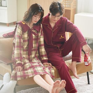 2020 Autumn Couple Pajamas Pure Cotton Plaid Sleepwear Simple Sex Red Men's Home Suit Homewear for Lovers Plus Size XXL