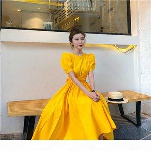 2019 Fashion Women Puff Sleeve Casual Dress Bow High Waist Midi Dress Solid Irregular Bottom Elegant