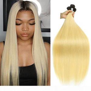 Brazilian Raw Virgin Human Hair Weave Bundles Straight Short Ombre T1B 613 Long 28 inch for Black Women 3 Bundles Extension 100g per Bundles