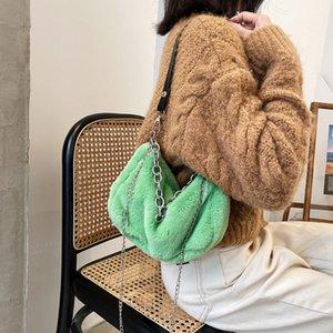 Designer-Solid Color Faux Fur Women Small Shoulder Bags Winter Plush Ladies Chain Underarm Bag Luxury Design Female Tote Purse Handbags 4640