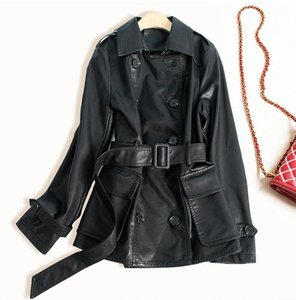 New Designer Women PU Leather Jacket Turn-down Collar Double Breasted With Belt Female Slim Black PU Leather Coat