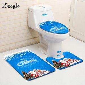 Zeegle Christmas Decora 3 unids Aseo de baño Alfombrilla de baño Set Anti-patín Alfombrillas de piso Baño Absorbente Tapa de inodoro Cubierta de baño Mats de baño FWC3829