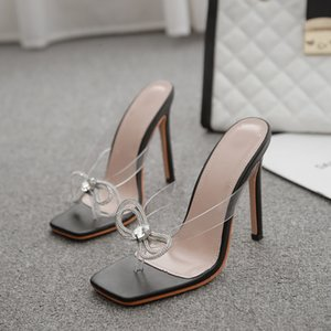 2021 Transparent Sandals of Thin Women High Summer Jump New All-game Net Fairy Wind Toe Red Heeled Shoes HQ4M