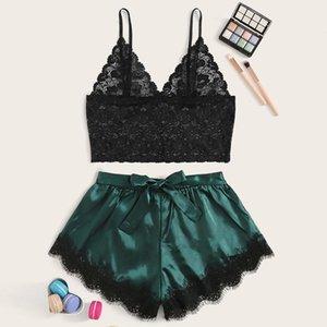 Satin dentelle Caraco rayé Shorts femmes sexy Ensemble Pijamas nuit Cils 2020 Summer Set Ladies Shorts 2 PCS Notte
