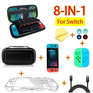 8 in 1 game accessory set Black red blue For Switch Travel Carrying Bag Screen Protector Case Charging Cable