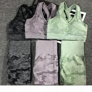 2pcs set Camouflage Yoga Set Women Seamless Fitness Yoga Bra Sports Bra High Waist Gym Camo Leggings Pants Fitness Suits Workout SH19062702