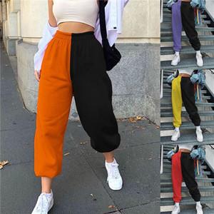 Женские брюки каприз мода высокая талия лоскутный цвет Sporty Harajuku Harem весна осенью женщин свободно случайные уличные карманные брюки