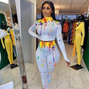 Print Long Sleeve Tracksuit 2 Fashion Suit 2020 Crop Top Women Pants Set Autumn Two Piece Outfits Matching Sets