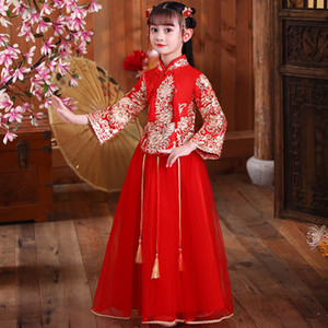 Chinese Flower Girl Dress For Wedding Girls Cheongsam Dress Chinese Hafu Kids Dresses Baby Traditional Garments New Year Dress