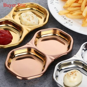 Golden Stainless steel kitchen Lattice seasoning small dish of soy sauce Japanese Trays Tableware vinegar sauce dish snack plate