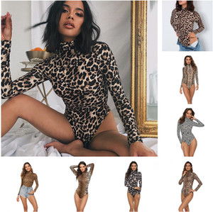 2021 New Women Jumpsuit Designer New women's autumn high collar long sleeve briefs Sexy Leopard print Slim Rompers Fashion Casual Clothing
