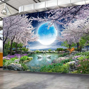 Custom Mural Wall Paper Moon Cherry Blossom Tree Nature Landscape Wall Painting Living Room Bedroom Photo Wallpaper Home Decor1