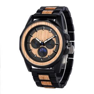 RELOJ HOMBRE Luxury Quartz Montres Top Marque Designer Montre avec Wood Watch Visage Métal Bracelet Semaine de la phase de lune Semaine de la phase de lune