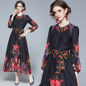 Floral Temperament Lady Long Dress Puff Sleeve 2021 Spring Autumn Maxi Dress High-end Bow Printed Women's Long Dress Party Holiday Dresses