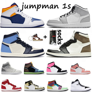 Nike Air Jordan Retro 1 Mit Socken Jumpman 1 Basketball-Schuhe Travis Scotts Digital-Rosa 1s Herren SatinJordanienRetro Metallic Gold Frauen Turnschuhe Turnschuhe