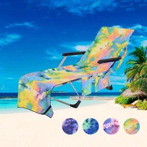 Beach Chair Cover Hot Lounger Mate Beach Towel Single Layer Tie-dye Sunbath Lounger Bed Holiday Garden Beach Chair Cover DHL Free