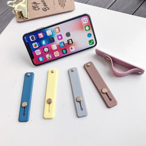 Universal Silicone Mobile Phone Hand Band Finger Ring Holder Anti-drop Wristband Strap Push Pull Grip Stand Candy Color Bracket