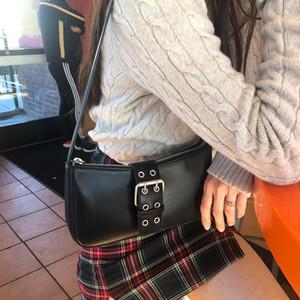 Retro Design Women Buckle Baguette Handbags Fashion Ladies PU Leather Shoulder Bag All Match Cool Girls Purse Tote Clutch Bags Q1129