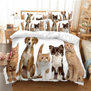 Dogs and cats Bedding Set Cute Pet Printing Duvet Cover 2 3 Piece Kids Bed Set Bedroom Quilt Cover Comforter Cover Set