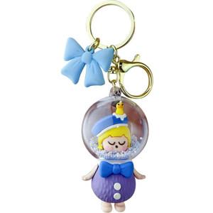 New fairy tale princess key chain summer acrylic sleeping beauty quicksand bottle Pendant Gift pendant creative gift