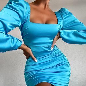Сплошной цвет драпированные вскользь женщина платья сексуальный открытый задний квадратный воротник с длинным рукавом узлостойкий бедра