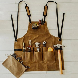 Oil Waxed Canvas Retro Apron Garage Garden Hardware Workshop Waterproof and Oil Proof Apron Multi Pockets Strong Tool Apron C0127