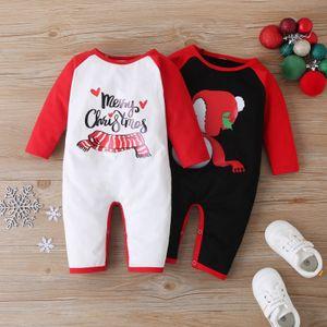 #46 Newborn Baby Boys Girls Christmas Cartoon Letter Print Romper Jumpsuit Fashion Infant Kids Winter Warm Clothes