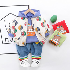 HYLKIDHUOSE 2020 Spring Baby Girls Boys Clothing Sets Printing Coats T Shirt Jeans Toddler Infant Clothes Kids Children Clothes Y1113
