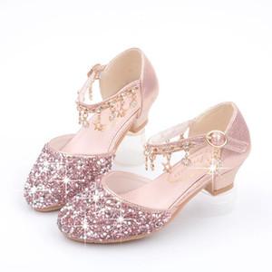 الأحذية المسطحة الفتيات الأطفال الصنادل الجلدية الترتر الاطفال الأميرة حزب 26-38 اللباس عالية الكعب